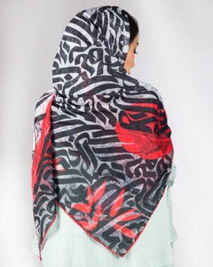 روسری زنانه مشکی قرمز طرح دار -طوسی کمرنگ - دخترانه