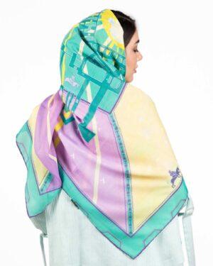 روسری مجلسی دخترانه طرح دار - سبز چمنی - پشت
