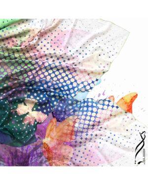 روسری مجلسی زنانه طرح پروانه - پسته ای - روسری طرح دار