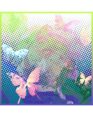 روسری مجلسی زنانه طرح پروانه - پسته ای - روسری قواره بزرگ