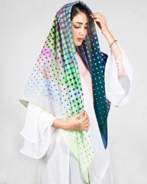 روسری مجلسی زنانه طرح پروانه - پسته ای - رو به رو