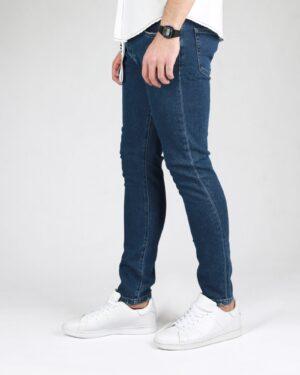 شلوار جین تیره ساده مردانه - سرمه ای - بغل