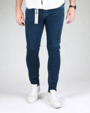 شلوار جین تیره ساده مردانه - سرمه ای - رو به رو