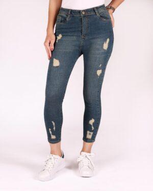 شلوار جین زاپ دار دخترانه - آبی تیره - رو به رو