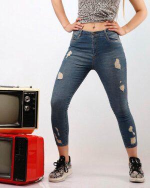 شلوار جین زاپ دار دخترانه - آبی تیره - محیطی زنانه