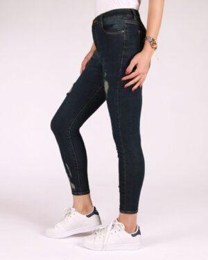 شلوار جین زاپ دار زنانه - سرمه ای تیره - بغل