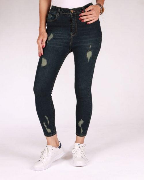 شلوار جین زاپ دار زنانه - سرمه ای تیره - رو به رو