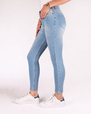 شلوار جین ساده زنانه - آّبی روشن - بغل