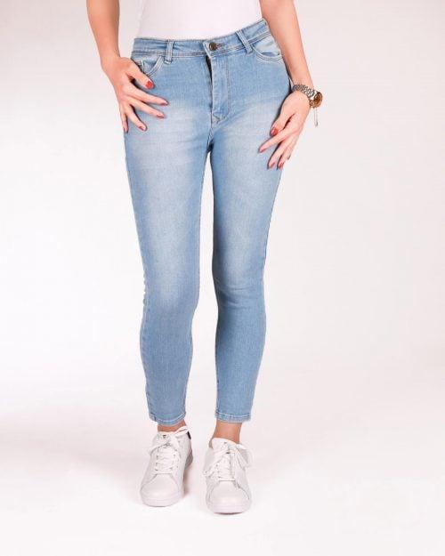 شلوار جین ساده زنانه - آّبی روشن - رو به رو