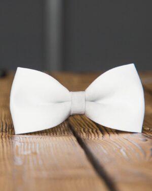 پاپیون مردانه ساتن ساده - سفید - رو به رو