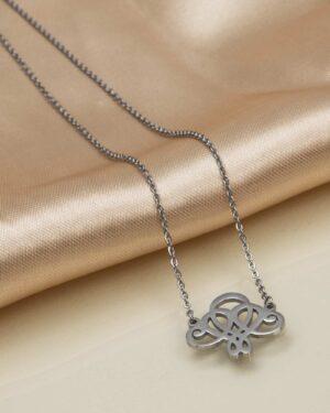 گردنبند زنانه طرح گل اسلیمی - نقره ای - گردنبند دخترانه