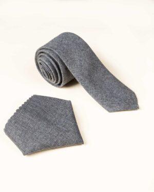 ست کراوات و دستمال جیب دودی - دودی
