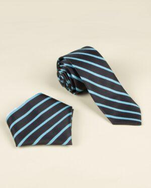 ست کراوات و دستمال جیب راه راه - آبی فیروزه ای