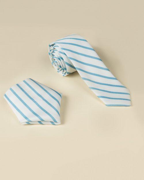 ست کراوات و دستمال جیب راه راه - سفید