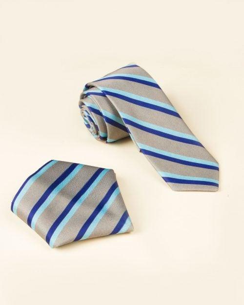 ست کراوات و دستمال جیب طرح راه راه - طلایی