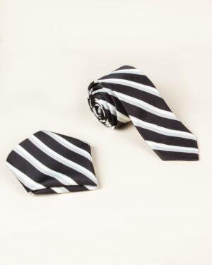 ست کراوات و دستمال جیب طرح راه راه - مشکی