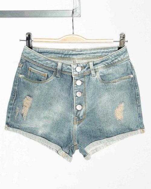 شلوارک جین روشن زنانه زاپ دار - آبی روشن - زاپ دار-روبه-رو
