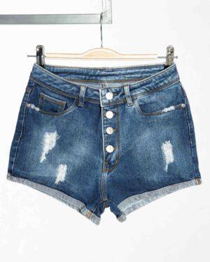 شلوارک جین زاپ دار زنانه - آبی - دکمه