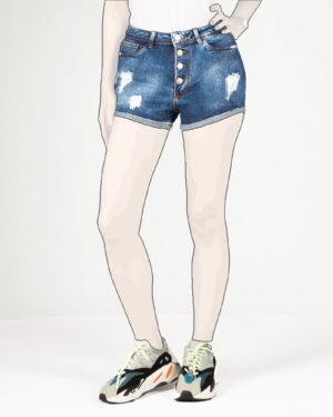 شلوارک جین زاپ دار زنانه - آبی - رو به-رو
