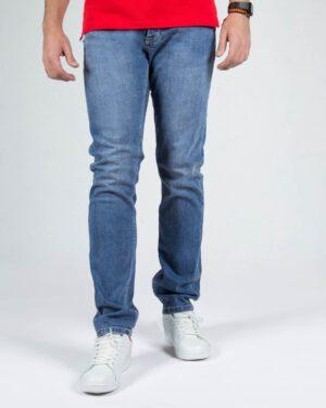 شلوار جین آبی راسته مردانه- آبی- استایل رو به رو