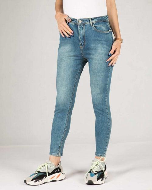 شلوار جین جذب زنانه ساده - آبی - رو به رو