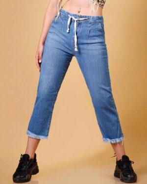 شلوار جین دخترانه دمپا ریش - آبی - محیطی زنانه