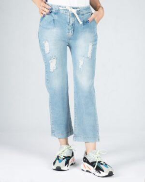 شلوار جین روشن زاپ دار زنانه - آبی روشن - رو به رو