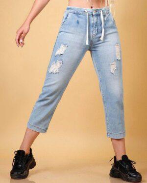 شلوار جین روشن زاپ دار زنانه - آبی روشن - محیطی دخترانه