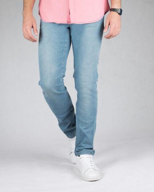 شلوار جین روشن ساده مردانه - آبی روشن - رو به رو