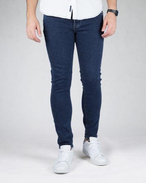 شلوار جین مردانه اسپرت ساده - سرمه ای - رو به رو