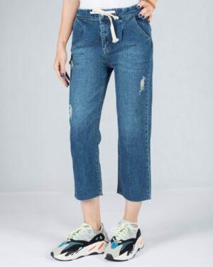 شلوار جین کوتاه زاپ دار زنانه - آبی تیره - رو به رو