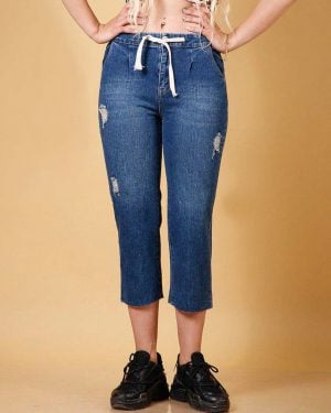 شلوار جین کوتاه زاپ دار زنانه - آبی تیره - محیطی زنانه