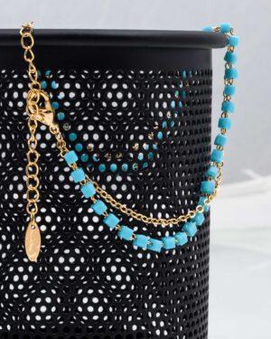 پابند دو زنجیره مهره دار - آبی فیروزه ای - قفل و زنجیر