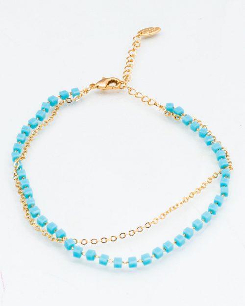 پابند دو زنجیره مهره دار - آبی فیروزه ای - پابند زنانه
