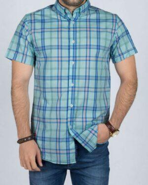 پیراهن آستین کوتاه چهارخانه اسپرت مردانه - آبی آسمانی - رو به رو