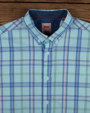 پیراهن آستین کوتاه چهارخانه اسپرت مردانه - آبی آسمانی - یقه مردانه