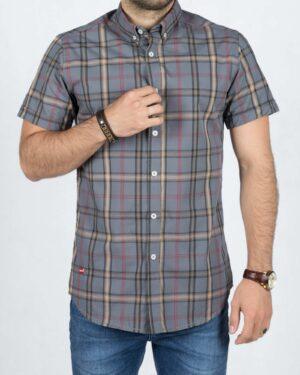 پیراهن آستین کوتاه چهارخانه اسپرت مردانه - خاکستری - رو به رو