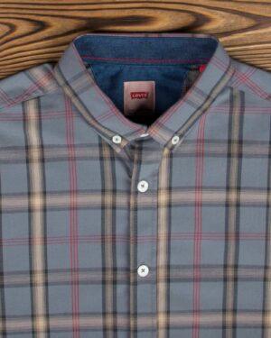 پیراهن آستین کوتاه چهارخانه اسپرت مردانه - خاکستری - یقه مردانه