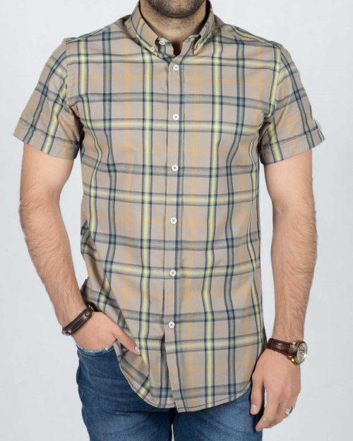 پیراهن آستین کوتاه چهارخانه اسپرت مردانه (پوپلین)
