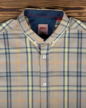 پیراهن آستین کوتاه چهارخانه اسپرت مردانه - خاکی - یقه مردانه