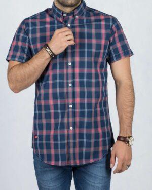 پیراهن آستین کوتاه چهارخانه اسپرت مردانه - سرمه ای - رو به رو