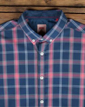 پیراهن آستین کوتاه چهارخانه اسپرت مردانه - سرمه ای - یقه مردانه