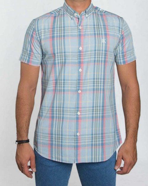 پیراهن مردانه آستین کوتاه چهارخانه - آبی روشن - رو به رو