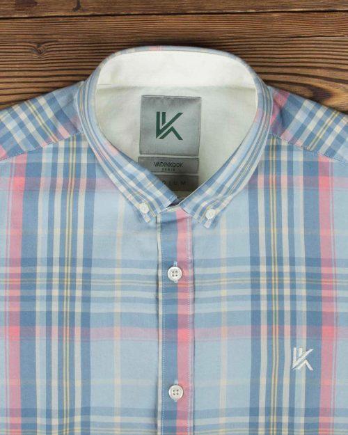 پیراهن مردانه آستین کوتاه چهارخانه - آبی روشن - یقه مردانه-روبه-رو