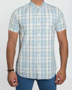 پیراهن مردانه آستین کوتاه چهارخانه - استخوانی - رو به رو