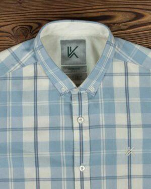 پیراهن مردانه آستین کوتاه چهارخانه - استخوانی - یقه