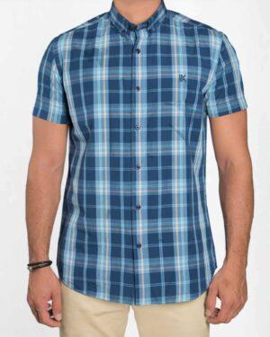 پیراهن مردانه آستین کوتاه چهارخانه - سرمه ای تیره - رو به رو