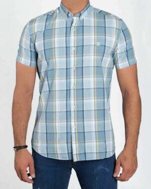 پیراهن مردانه آستین کوتاه چهارخانه - طوسی کمرنگ - رو به رو