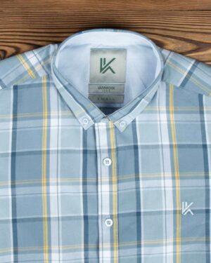 پیراهن مردانه آستین کوتاه چهارخانه - طوسی کمرنگ - یقه مردانه