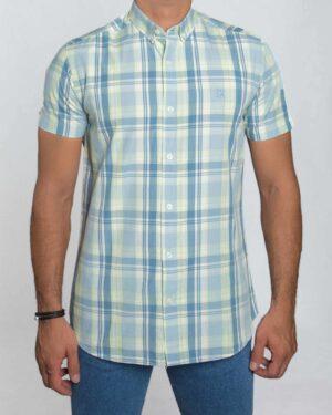پیراهن مردانه آستین کوتاه چهارخانه - پسته ای - رو به رو